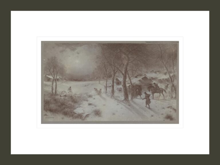 Return of the scout to Valley Forge [Snow-swept winter camp; c. 1777]