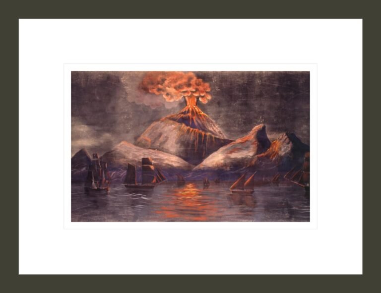 Volcano on Fogo Island, Cape Verde, erupting with whaleships in water. From Panorama: A Whaling Voyage Round the World