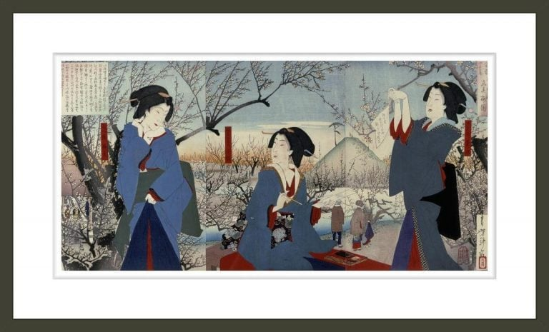 Three Beauties amid Cherry Blossoms (From a series of the Four Seasons)
