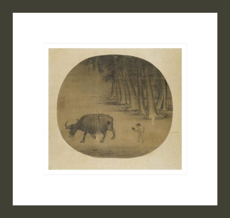 Buffalo and Herder Boy in Landscape