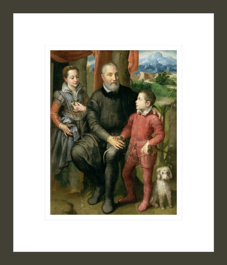 Portrait of the artist's family, Minerva (sister) Amilcare (father) and Asdrubale (brother)