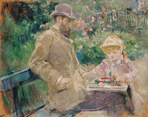 Eugène Manet and His Daughter in the Garden at Bougival