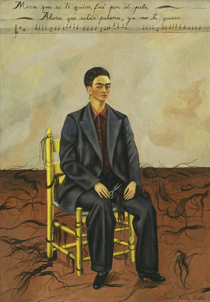 Frida Kahlo Self Portrait with Cropped Hair