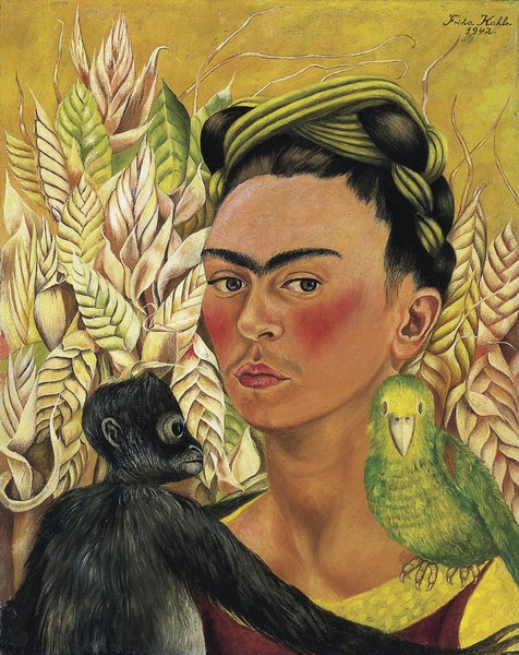 Frida Kahlo Self Portrait with Monkey and Parrot